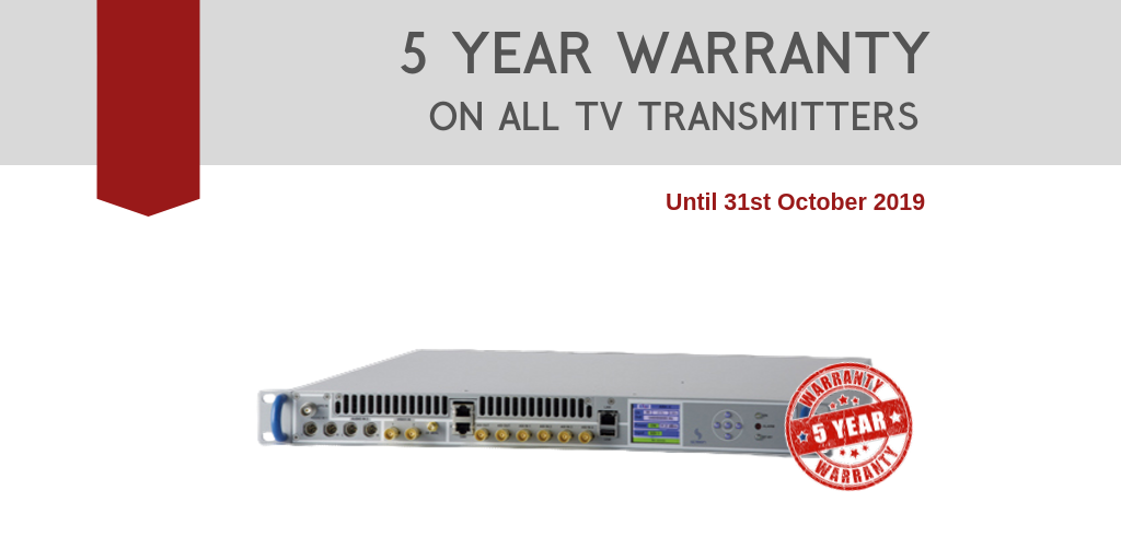 Limited time offer: 5 year warranty on all TV transmitters